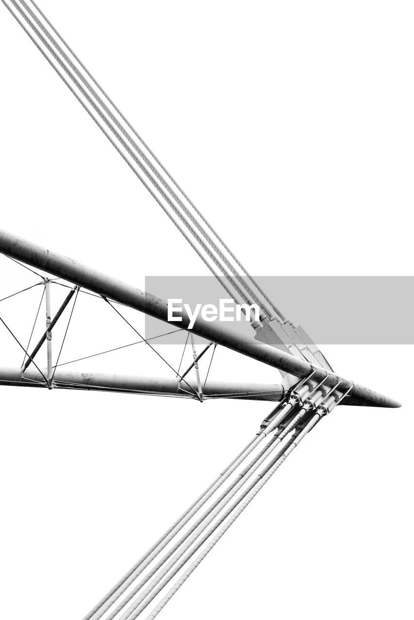 sky, no people, low angle view, clear sky, architecture, nature, transportation, built structure, day, pole, copy space, sailboat, metal, nautical vessel, outdoors, mast, mode of transportation, connection, white background, studio shot, alloy