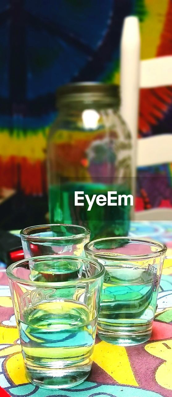 multi colored, table, close-up, focus on foreground, indoors, no people, drink, day, freshness, mint tea
