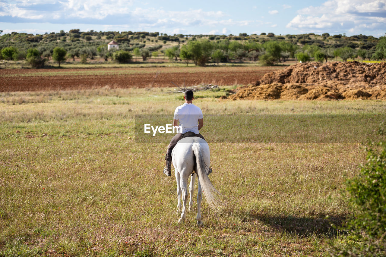 FULL LENGTH REAR VIEW OF MAN RIDING ON FIELD
