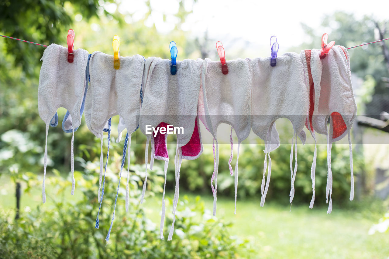 clothesline, hanging, drying, clothing, laundry, plant, clothespin, textile, day, focus on foreground, no people, nature, in a row, land, grass, field, group of objects, side by side, rope, white color