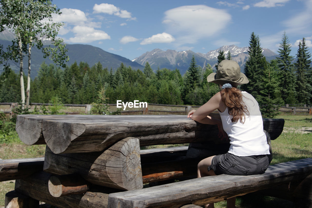 Rear View Of Woman Sitting On Wood Against Mountains