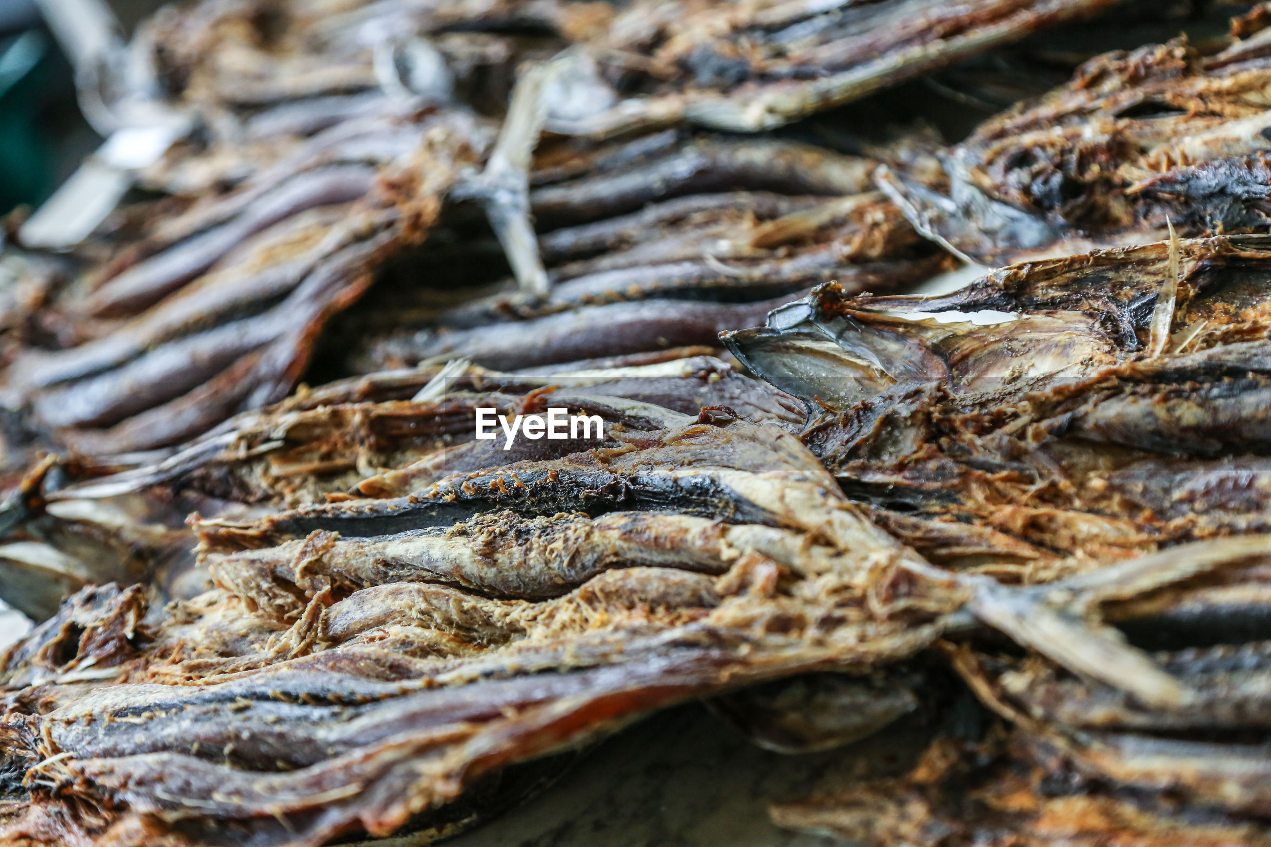 Close-up of dry fish for sale at market
