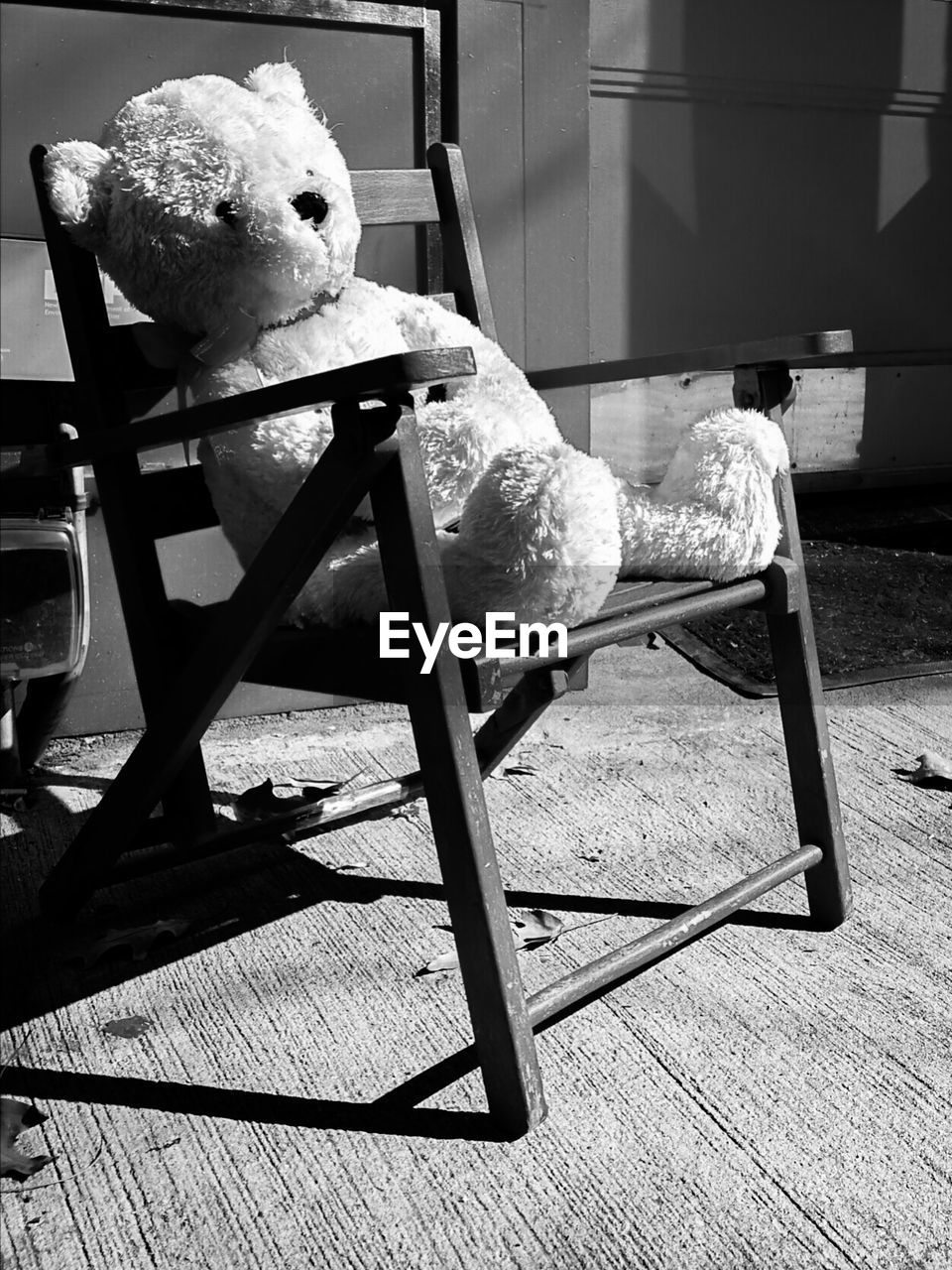 seat, representation, toy, stuffed toy, no people, teddy bear, chair, human representation, sunlight, day, nature, still life, sitting, indoors, abandoned, art and craft, shadow, table
