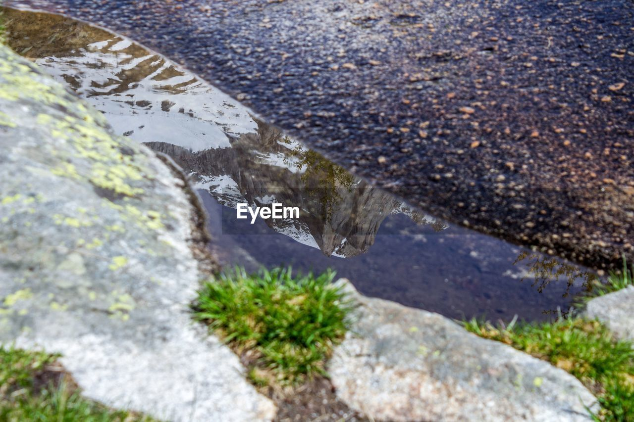 water, nature, no people, rock, solid, day, rock - object, outdoors, plant, high angle view, tranquility, beauty in nature, land, textured, close-up, scenics - nature, environment, mountain, rough