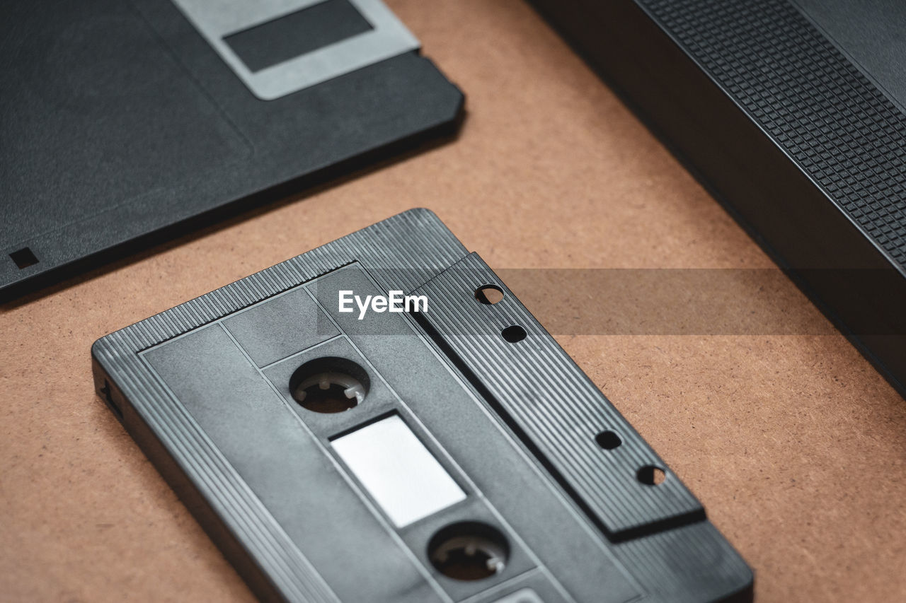 Close-up of audio cassette on table