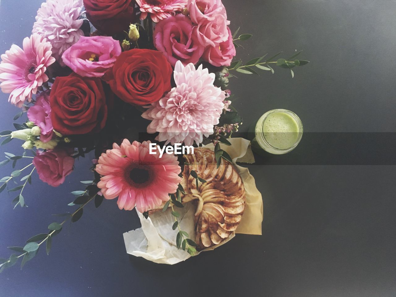 flower, flowering plant, plant, freshness, beauty in nature, vulnerability, fragility, petal, flower head, flower arrangement, inflorescence, nature, close-up, indoors, rose, high angle view, rose - flower, no people, bouquet, pink color, bunch of flowers