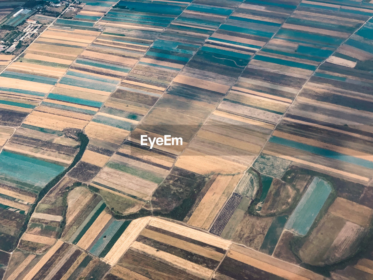high angle view, no people, pattern, day, aerial view, full frame, nature, patchwork landscape, landscape, backgrounds, wood - material, farm, agriculture, water, environment, outdoors, rural scene, field, window