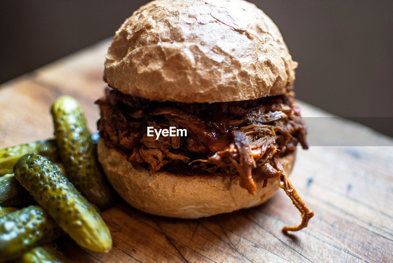 Close-Up Of Pulled Pork Burger