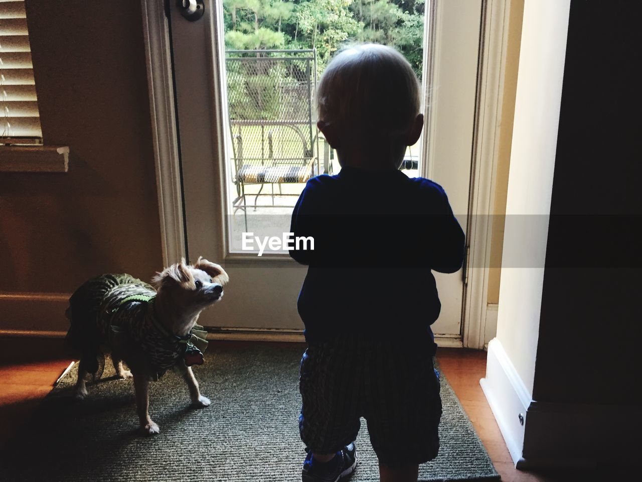 REAR VIEW OF GIRL WITH DOG STANDING AT HOME