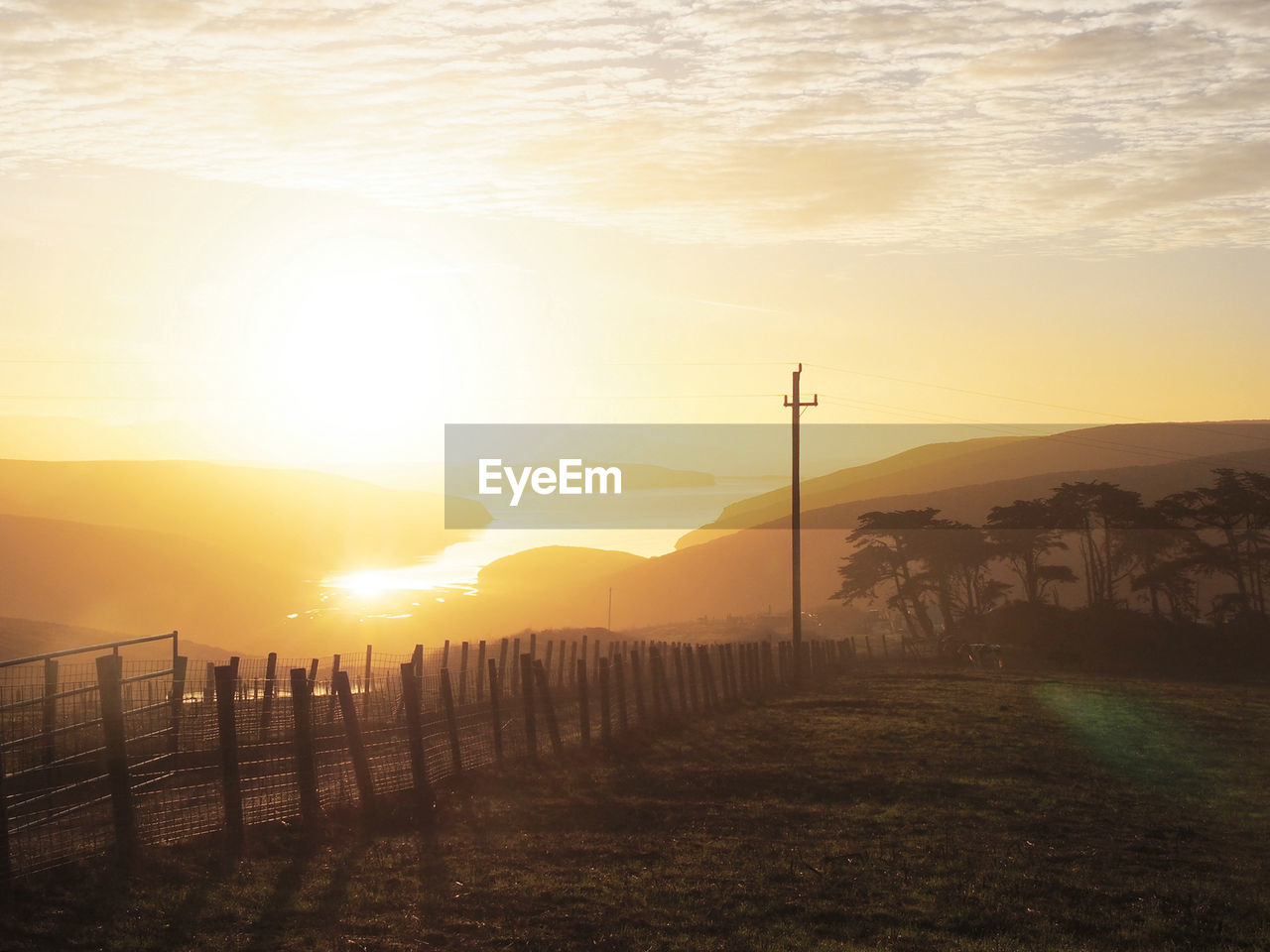 Scenic view of point reyes national seashore during sunrise
