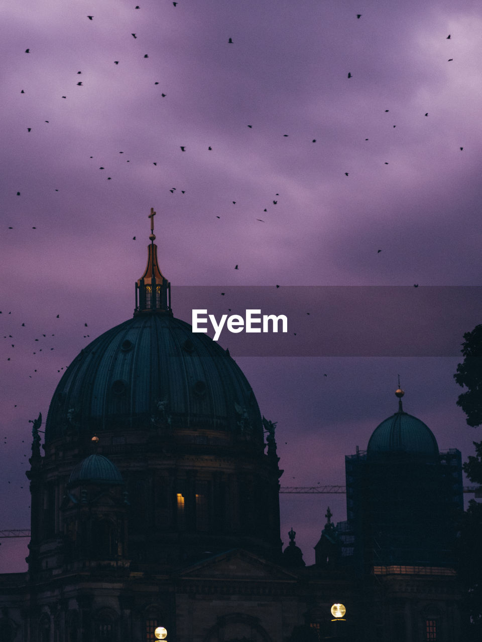 Berlin cathedral against birds flying in sky