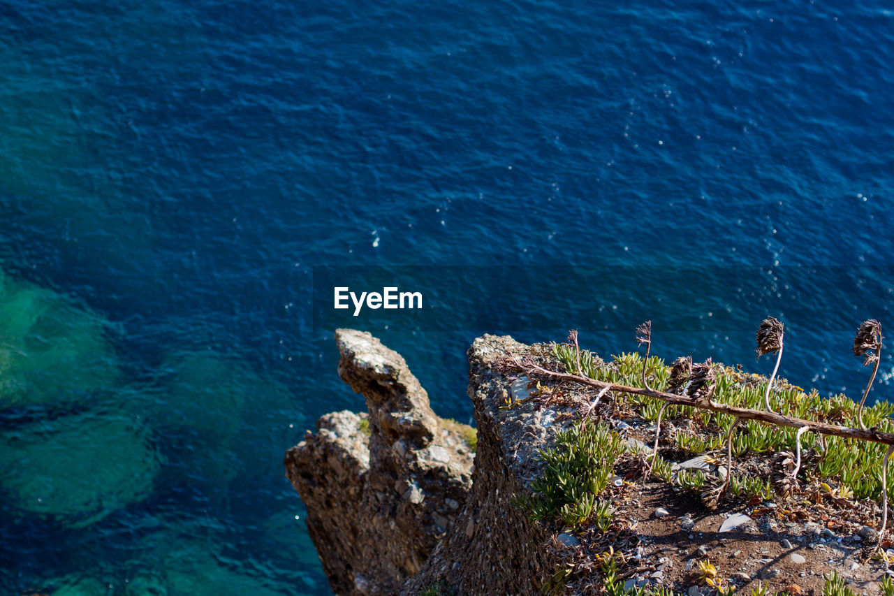water, sea, nature, high angle view, no people, day, rock - object, beauty in nature, blue, tranquil scene, outdoors, scenics