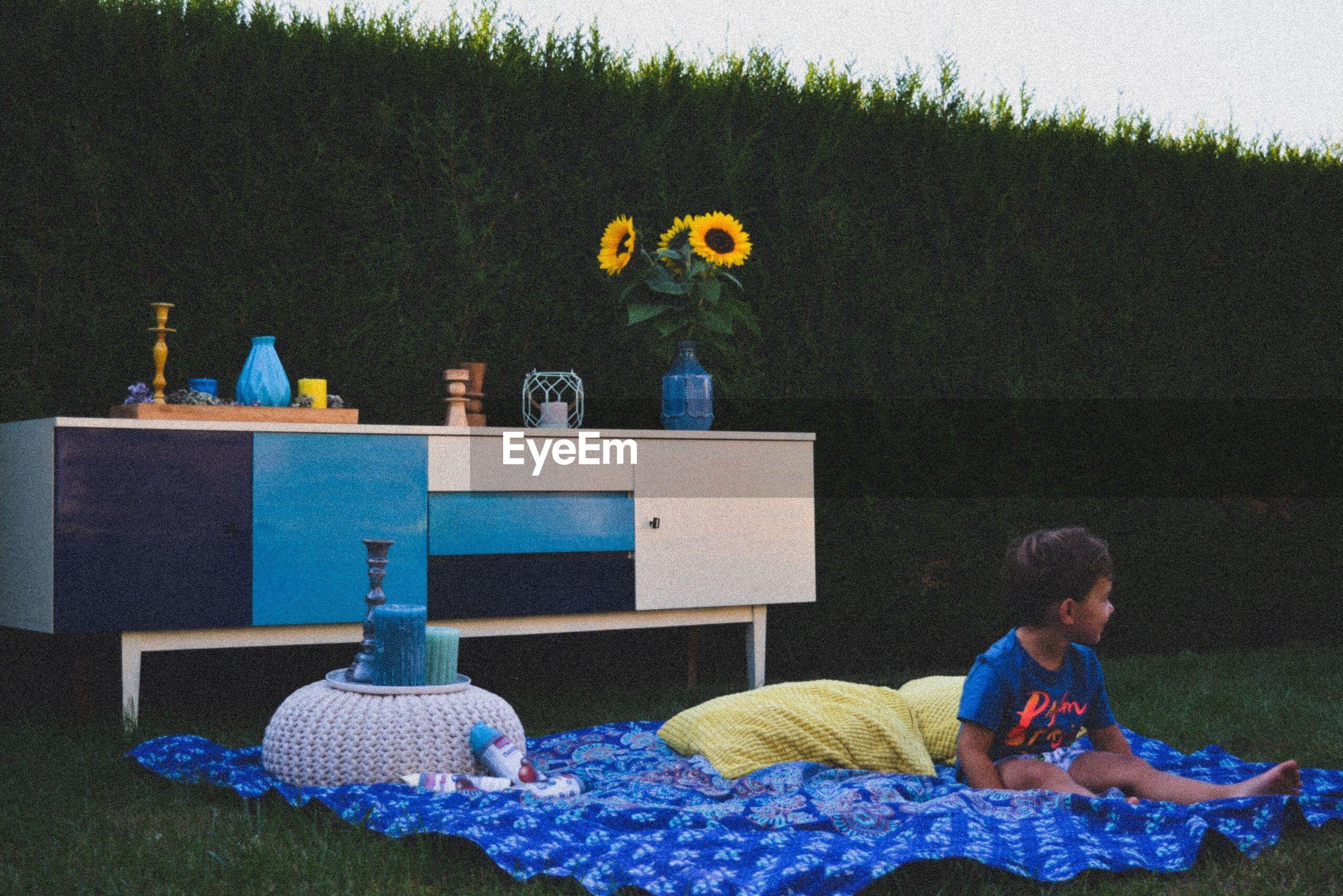 Boy sitting on picnic blanket in lawn