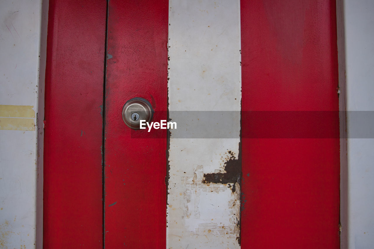 red, door, close-up, safety, full frame, day, backgrounds, no people, textured, protection, hinge, outdoors, built structure