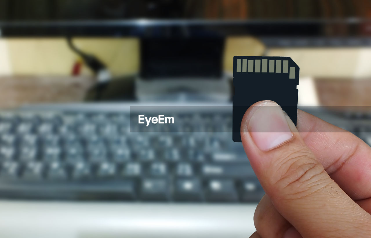 Cropped hand holding memory card