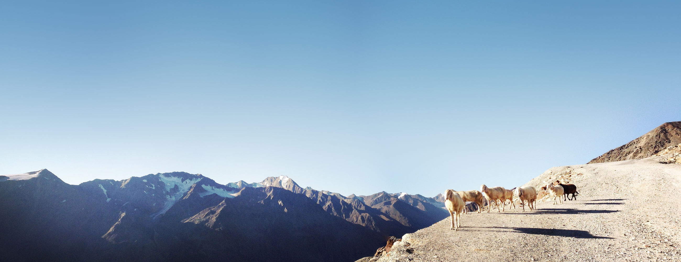 PANORAMIC SHOT OF SNOWCAPPED MOUNTAINS AGAINST CLEAR BLUE SKY