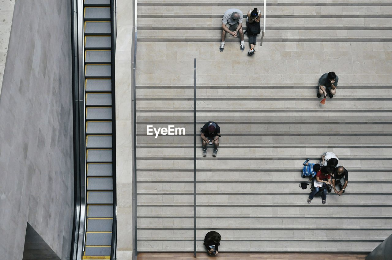High Angle View Of People On Staircase At National Gallery