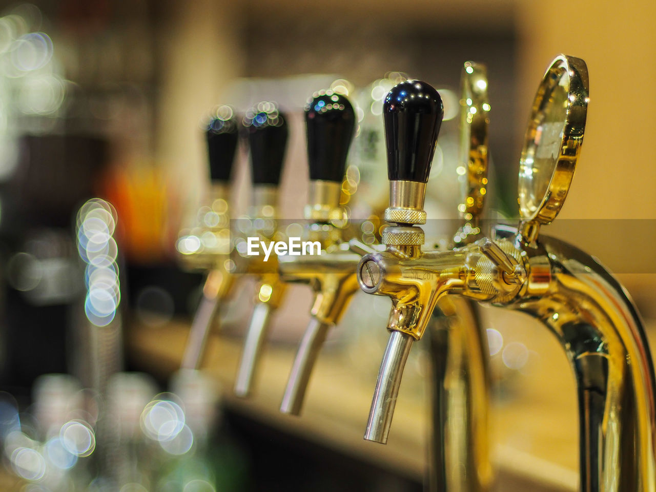 Close-up of beer tap