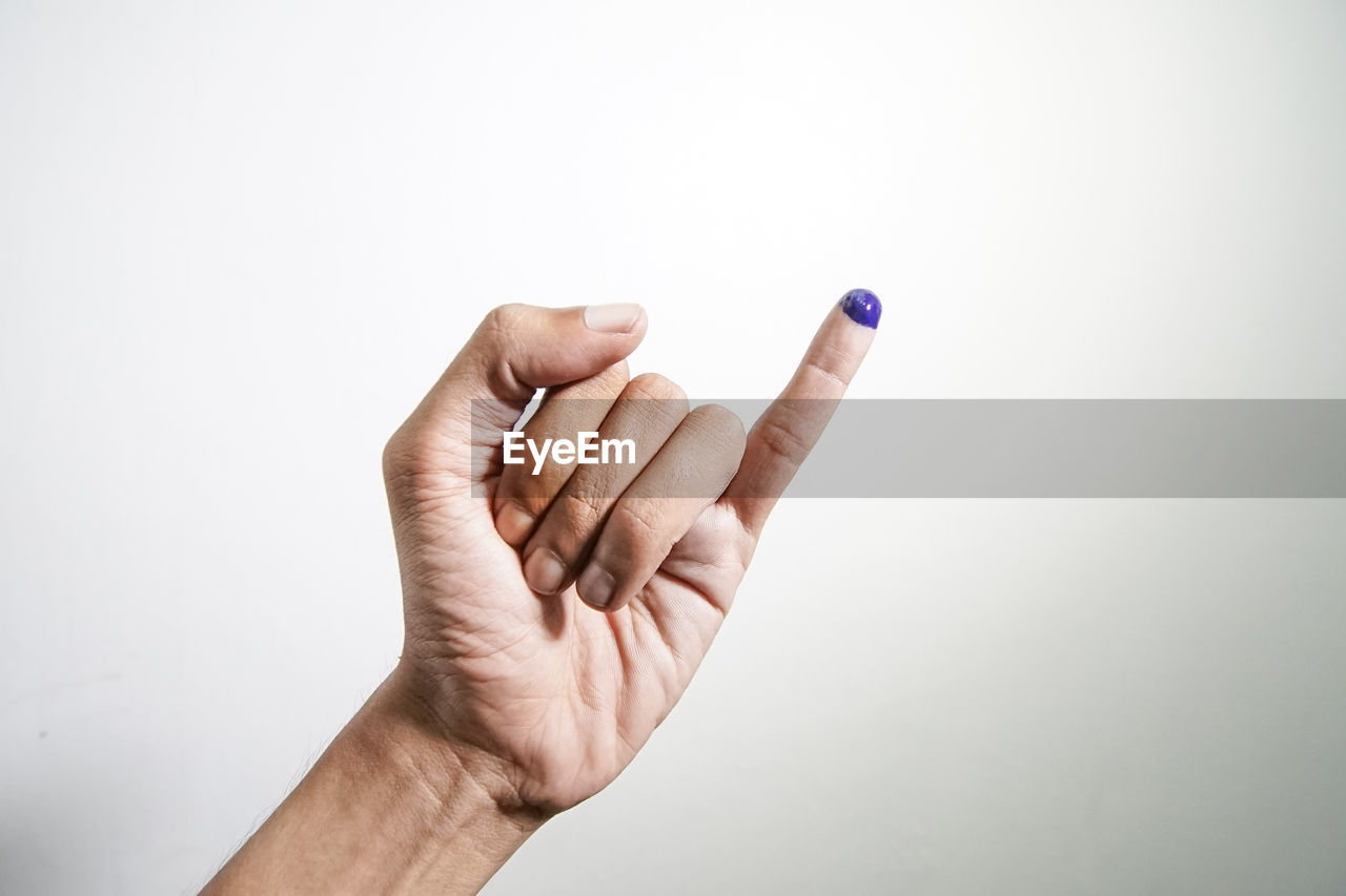 human hand, hand, human body part, studio shot, body part, one person, indoors, copy space, gesturing, human finger, finger, white background, showing, communication, close-up, unrecognizable person, men, wall - building feature, personal perspective, human limb