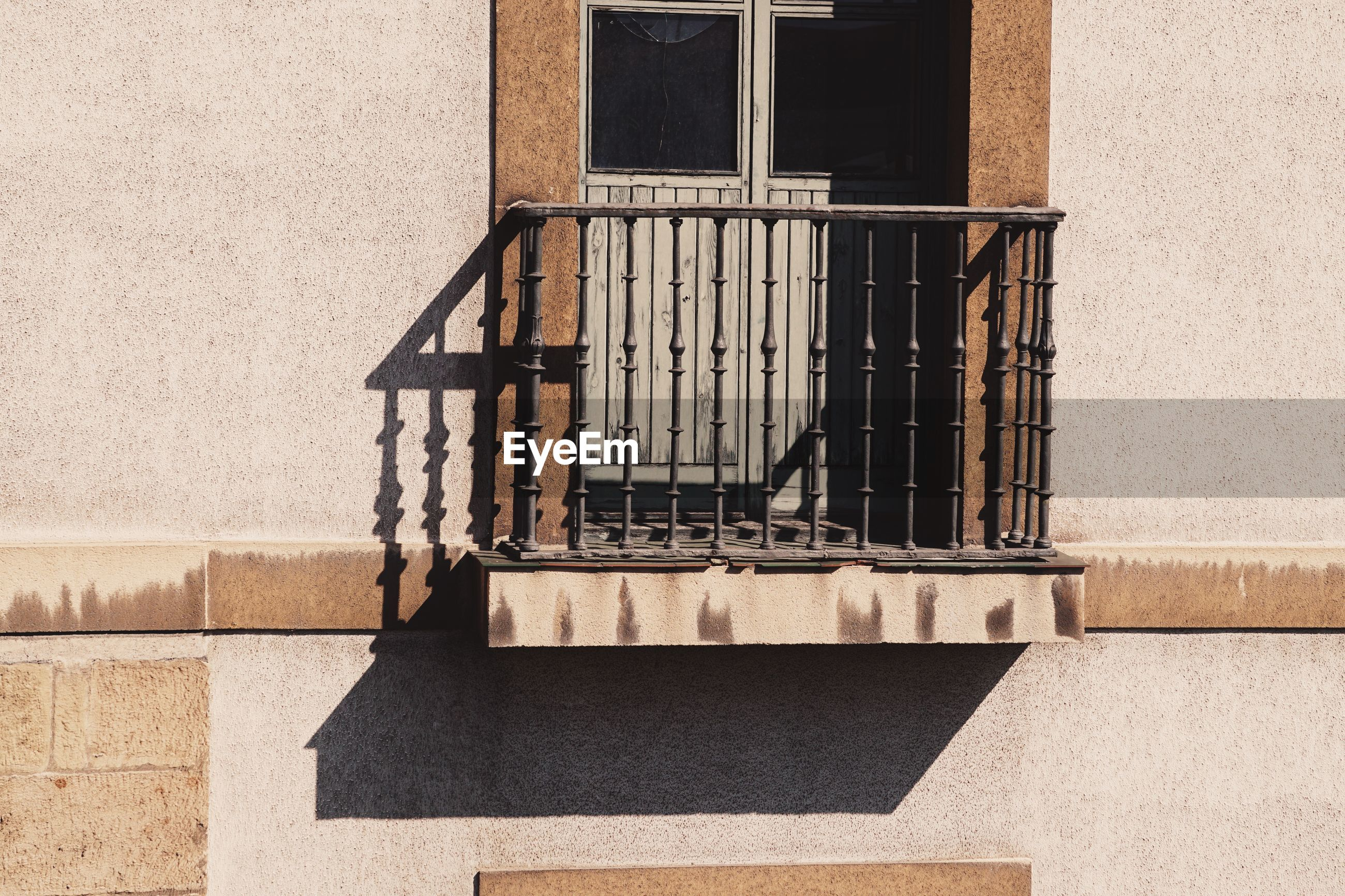 Window and balcony on the building in the city