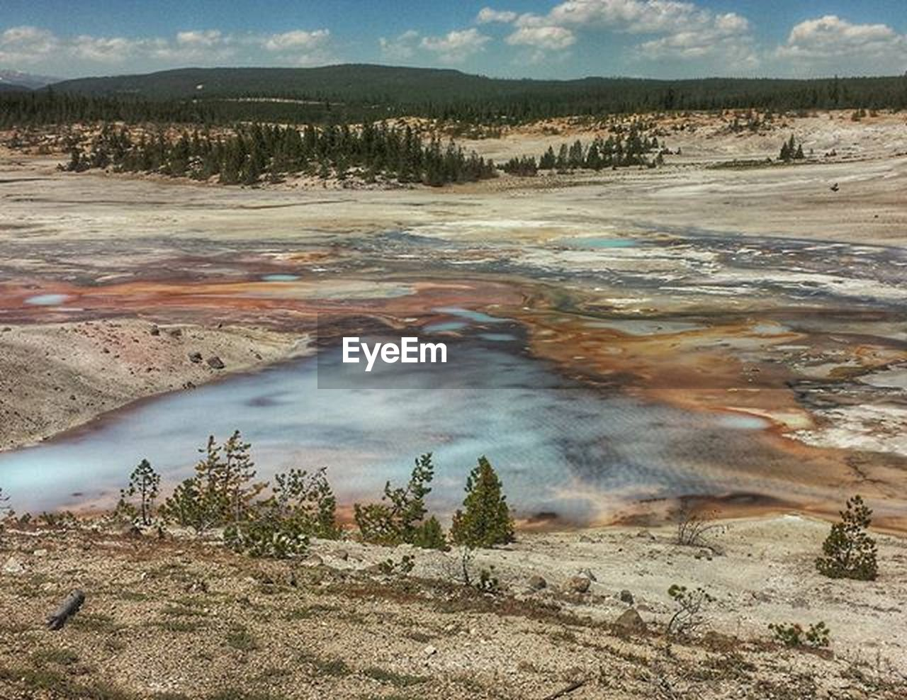 nature, landscape, outdoors, geyser, beauty in nature, scenics, no people, cloud - sky, day, sky, hot spring, travel destinations, tranquil scene, tranquility, mountain, steam, physical geography, water, tree