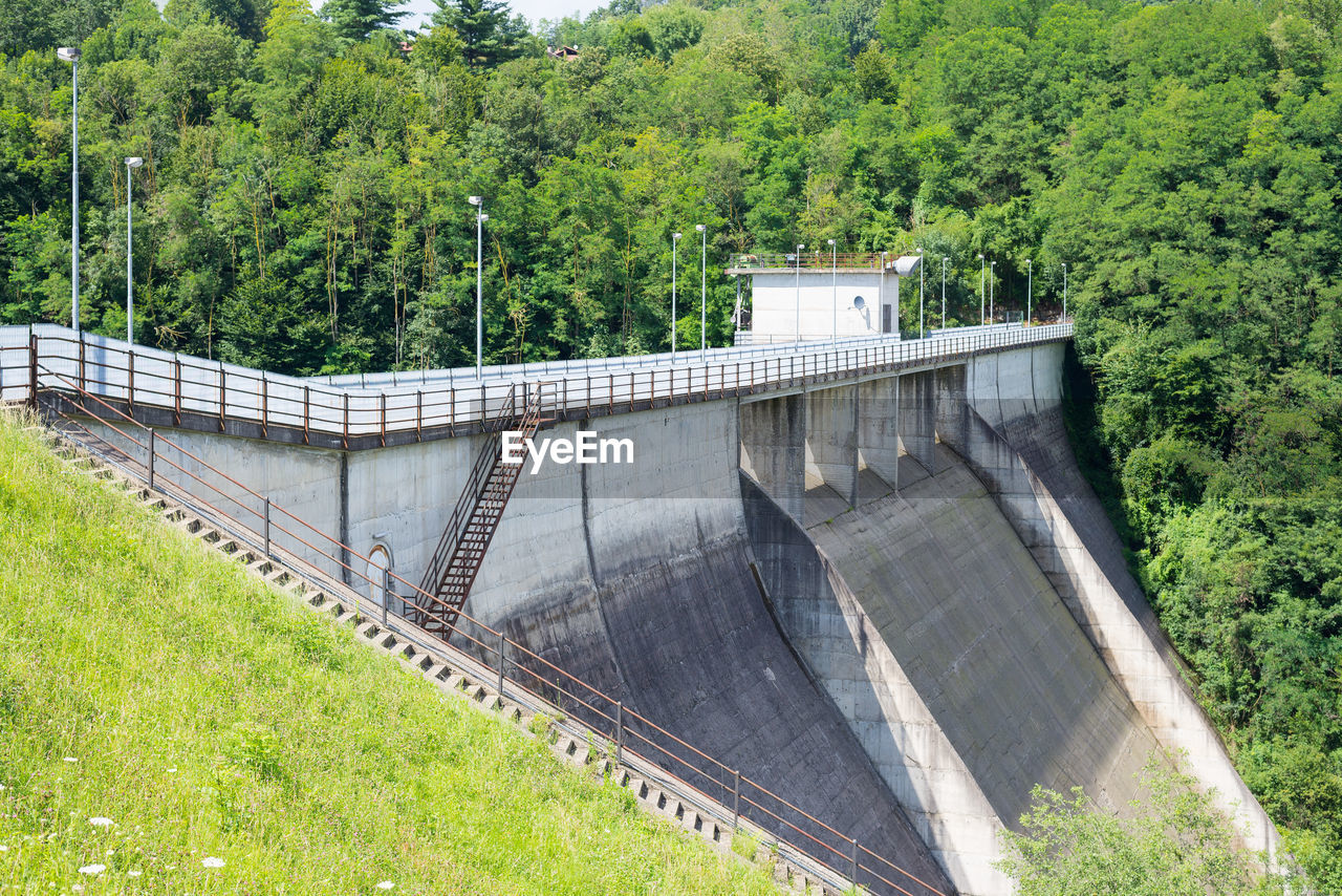 plant, tree, dam, hydroelectric power, built structure, fuel and power generation, architecture, nature, bridge, water, bridge - man made structure, renewable energy, connection, day, environmental conservation, no people, environment, transportation, outdoors, arch, concrete, power supply