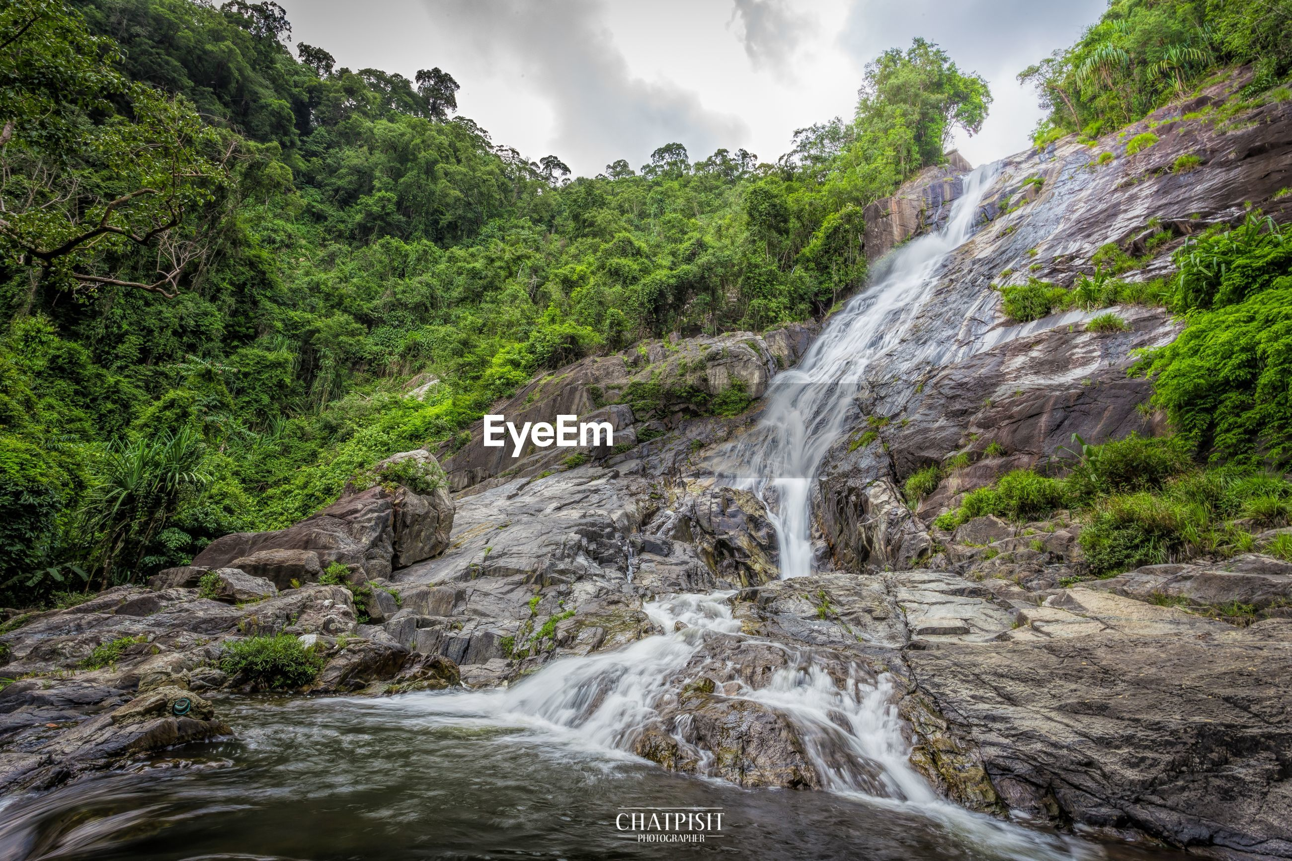 water, waterfall, motion, flowing water, beauty in nature, scenics, flowing, rock - object, tree, long exposure, nature, rock formation, sky, forest, river, tranquil scene, idyllic, stream, tranquility, non-urban scene
