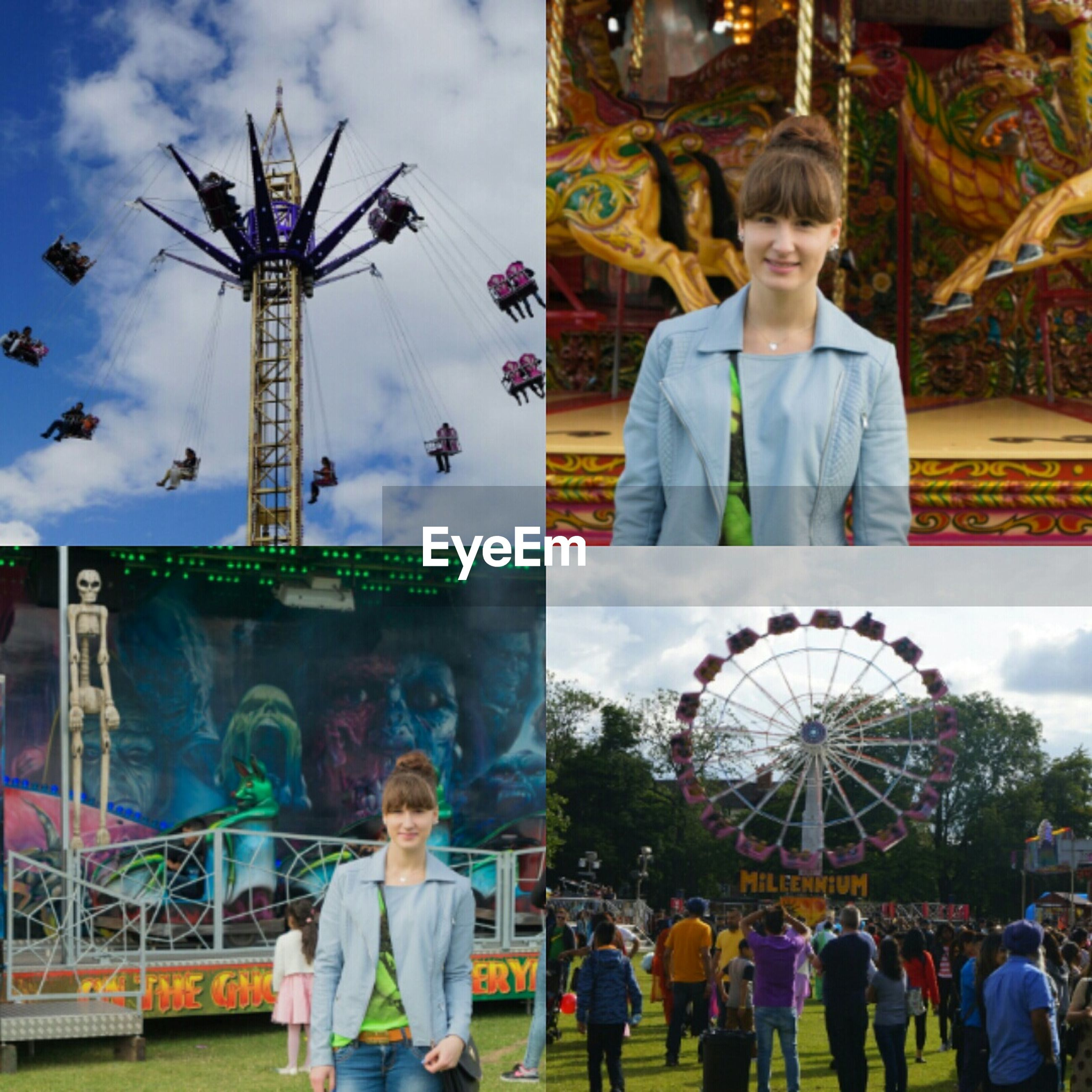 amusement park, leisure activity, lifestyles, amusement park ride, arts culture and entertainment, ferris wheel, sky, casual clothing, enjoyment, fun, standing, person, men, built structure, large group of people, cloud - sky, happiness, architecture, tourism