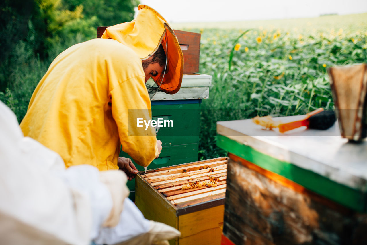Beekeepers Standing By Containers