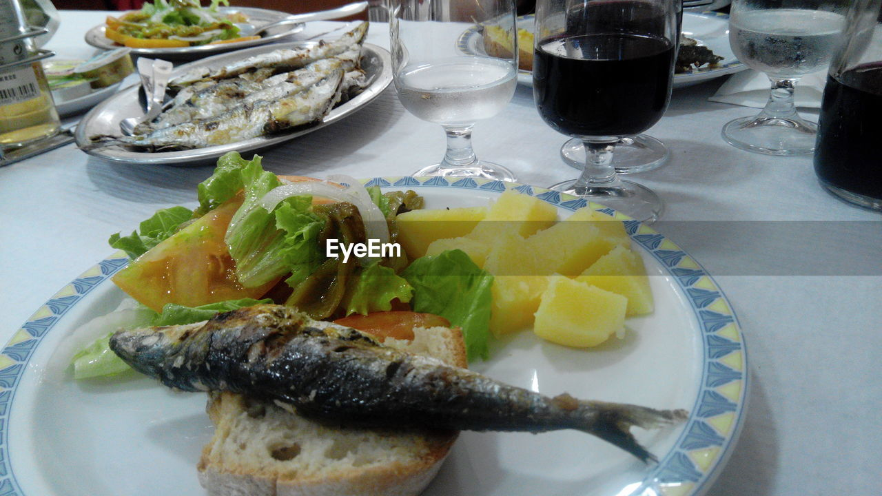 plate, food and drink, food, ready-to-eat, table, healthy eating, freshness, indoors, drinking glass, no people, high angle view, serving size, wineglass, wine, close-up, day