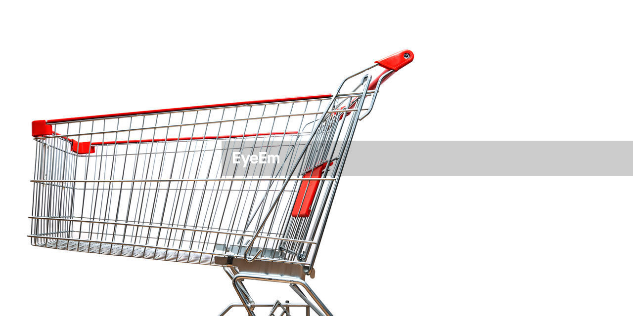 shopping, shopping cart, consumerism, cut out, retail, white background, buying, store, supermarket, metal, copy space, studio shot, push cart, business, indoors, buy - single word, no people, cart, empty, sale, groceries, chrome, shopping basket, wheel