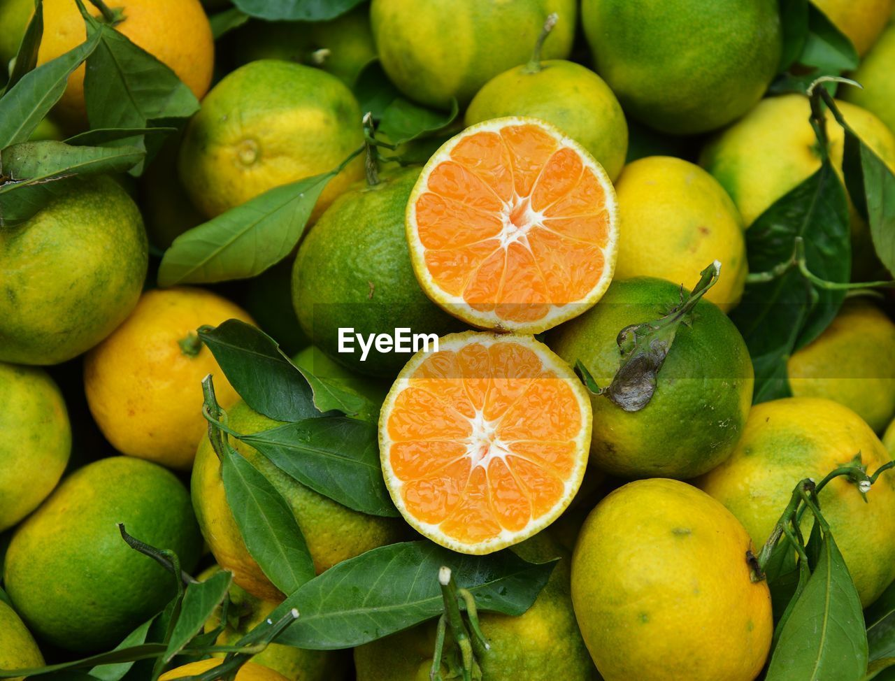 Full frame shot of citrus fruits for sale at market