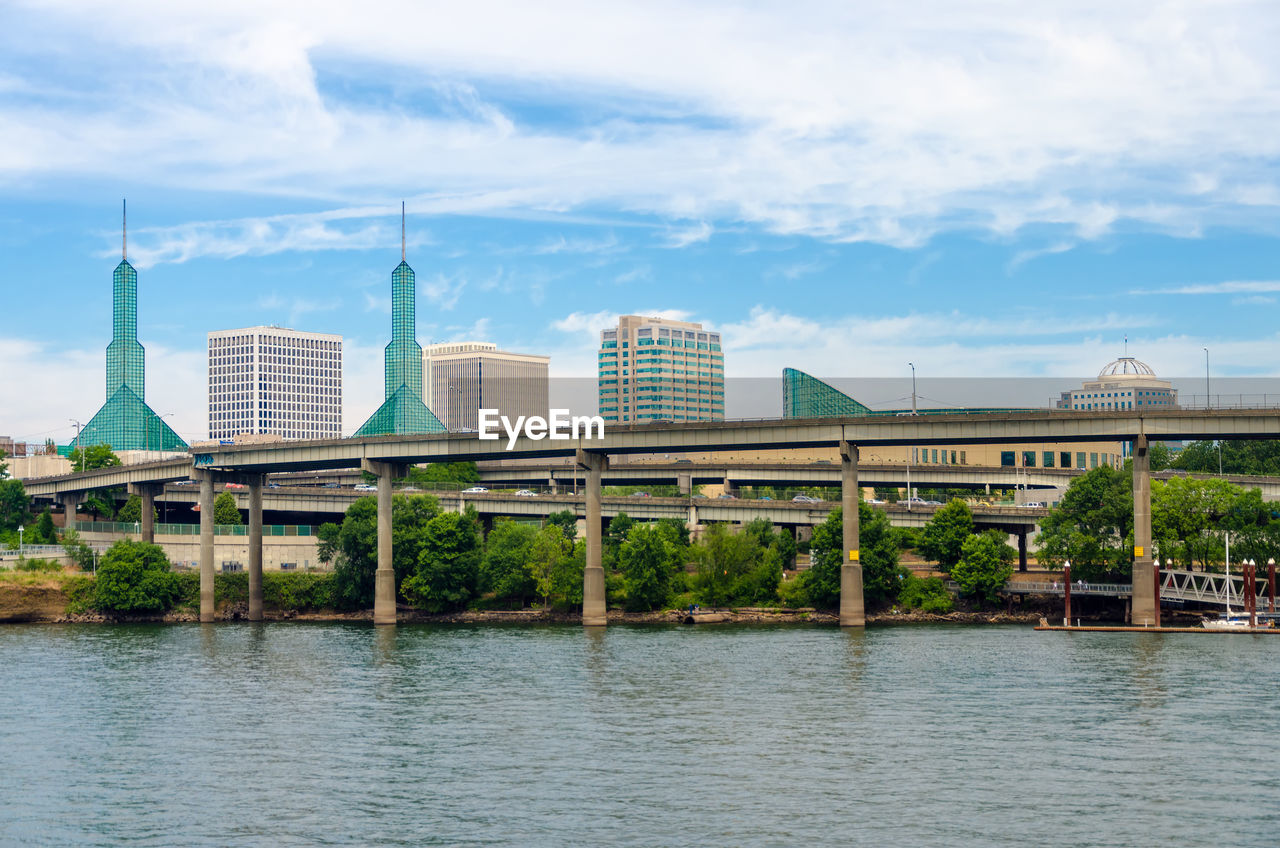 Bridge Over River Against Oregon Convention Center