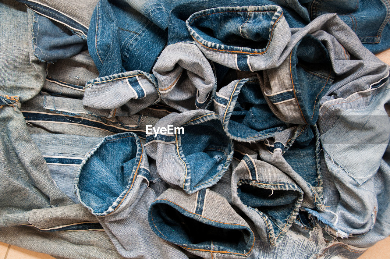 Directly above view of crumpled jeans