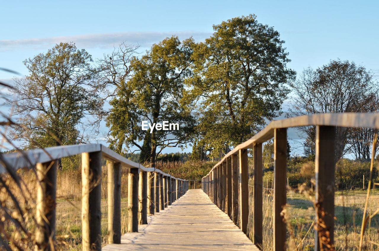 WOODEN FOOTBRIDGE AMIDST TREES AGAINST SKY