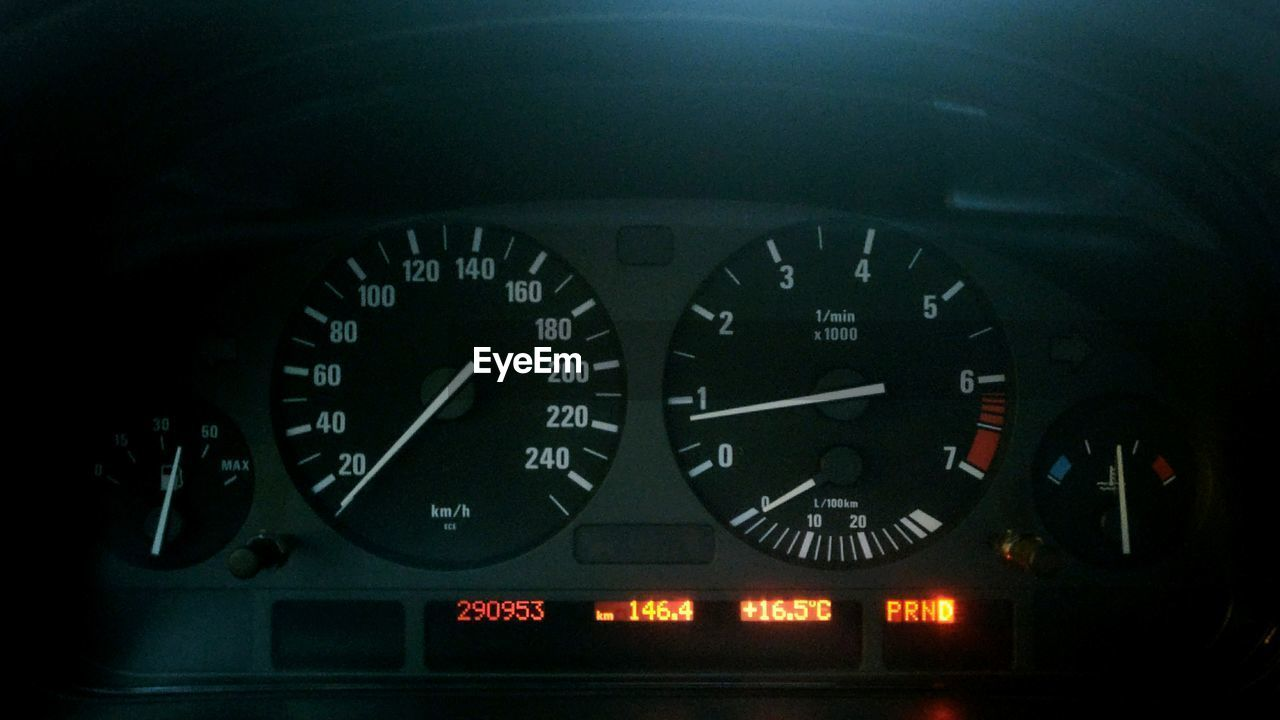 vehicle interior, transportation, speedometer, gauge, number, no people, dashboard, mode of transport, car interior, night, illuminated, close-up, clock, control panel, time, clock face, outdoors, minute hand