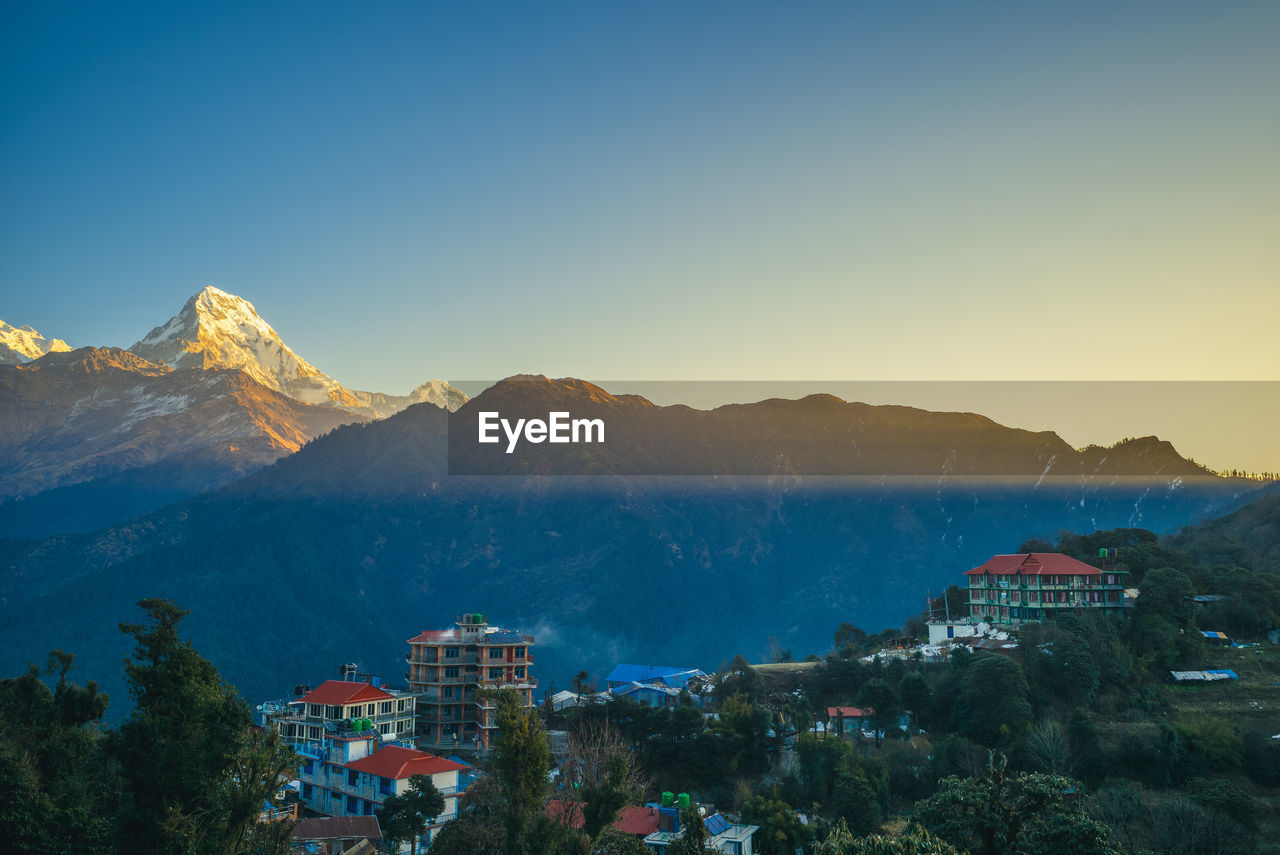SCENIC VIEW OF TOWNSCAPE AND MOUNTAINS AGAINST CLEAR SKY
