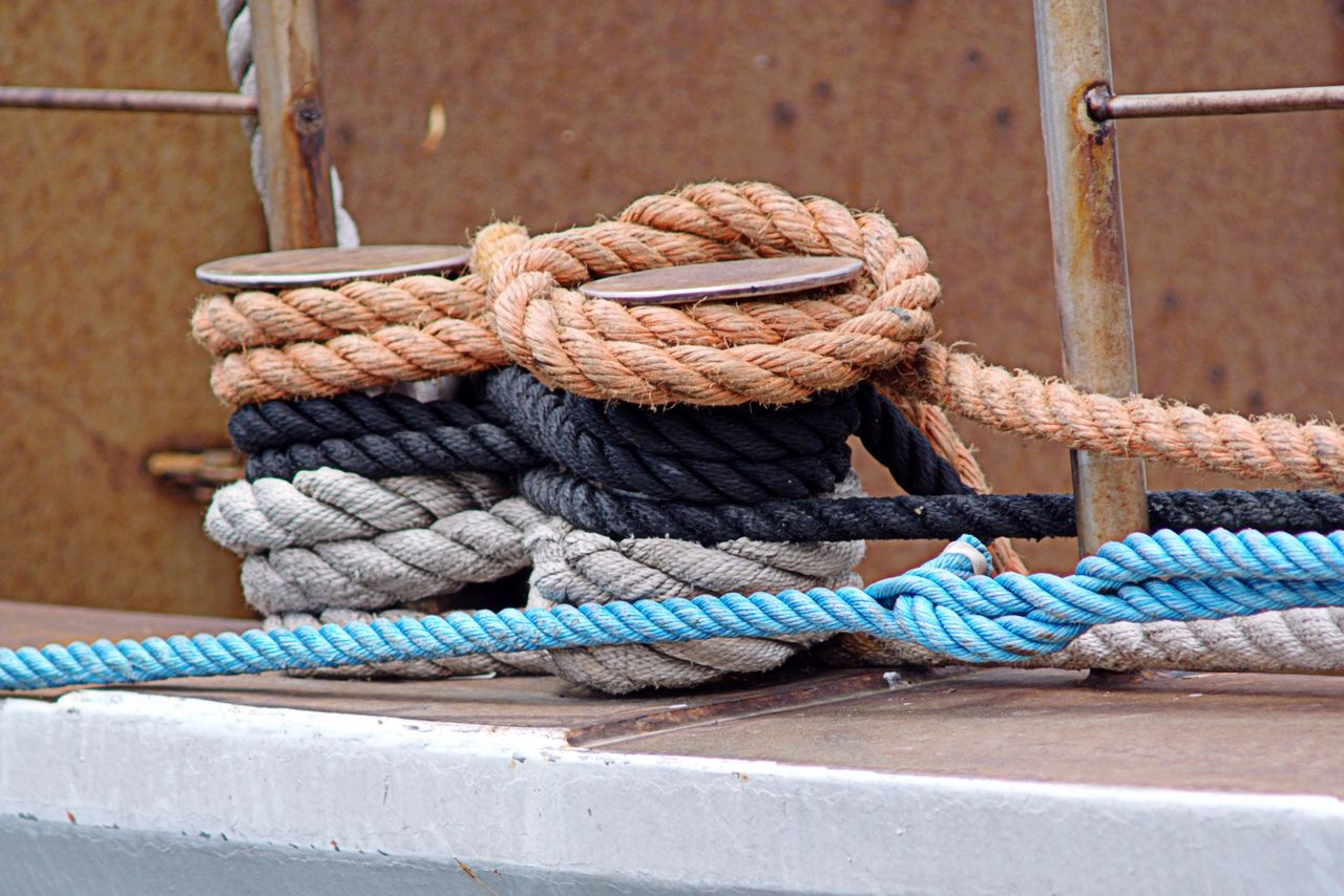 Close-up of rope tied to rope