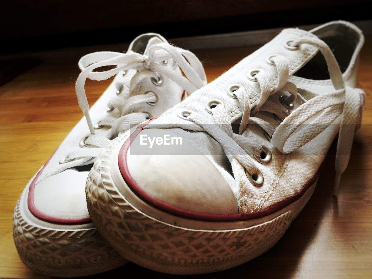 Close-up of canvas shoes