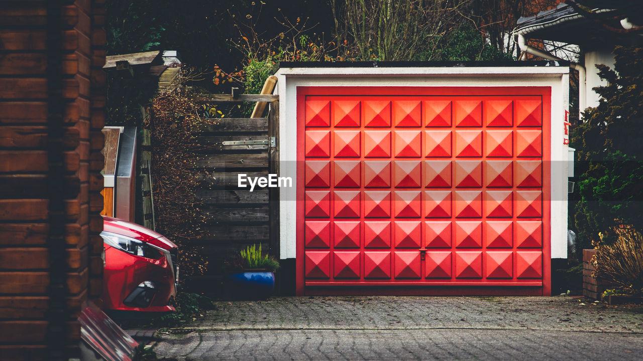 Closed Red Door Of Garage