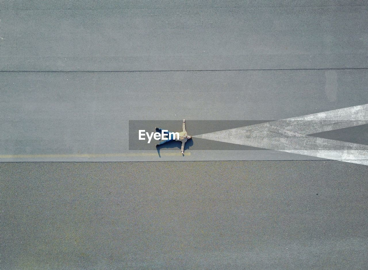 High Angle View Of Man On Road