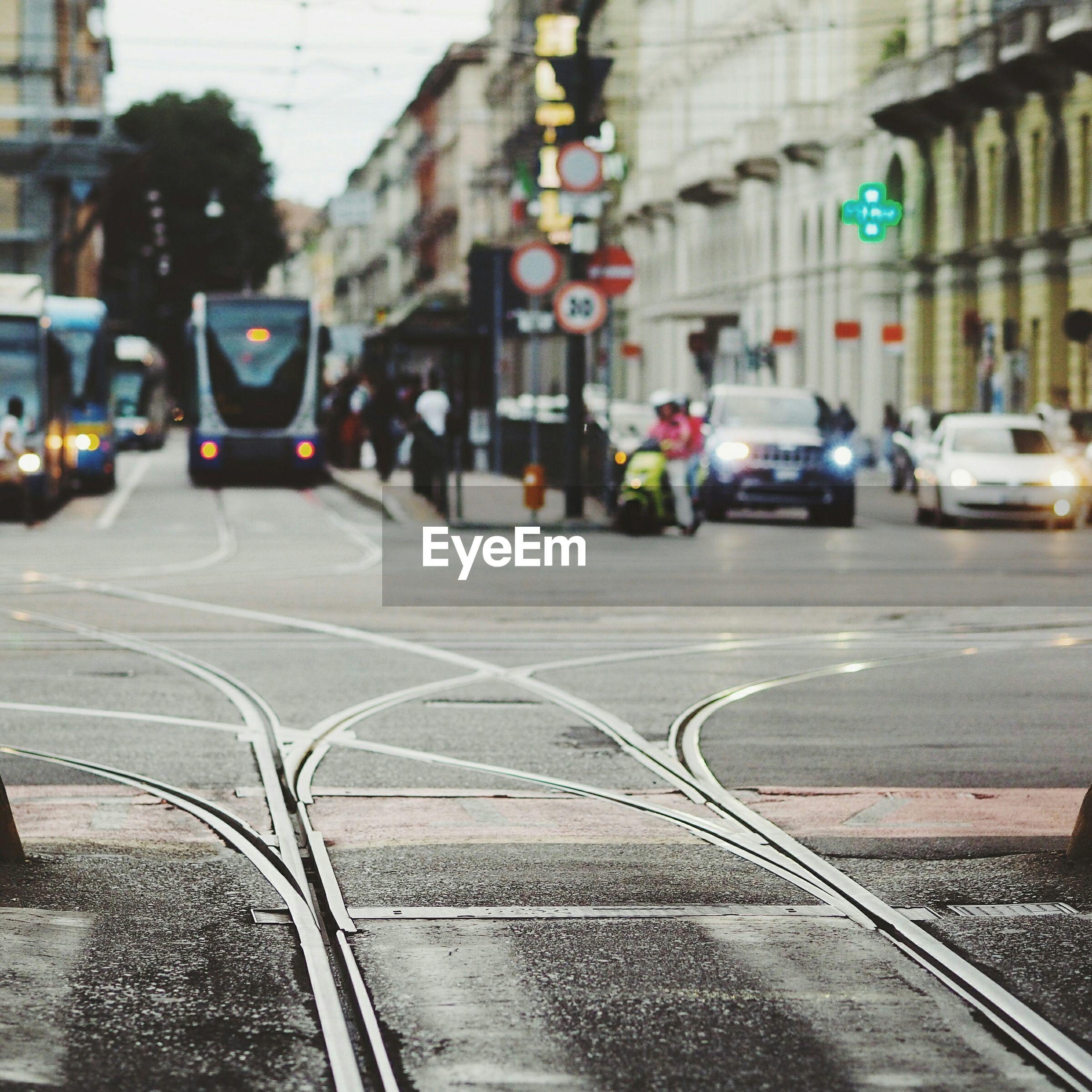 Tramway tracks on city street
