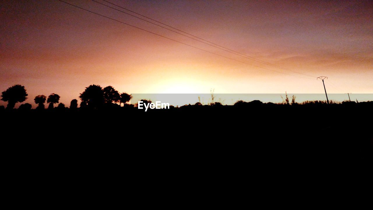 silhouette, sunset, nature, beauty in nature, scenics, sky, landscape, tranquil scene, tree, tranquility, no people, outdoors, clear sky, day