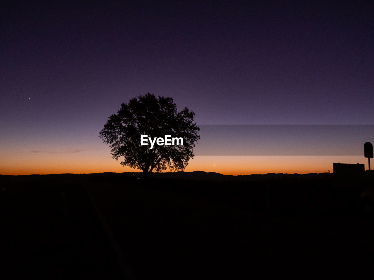 sky, silhouette, tree, beauty in nature, scenics - nature, tranquility, landscape, environment, plant, tranquil scene, no people, sunset, nature, land, field, copy space, night, idyllic, non-urban scene, clear sky, outdoors, dark