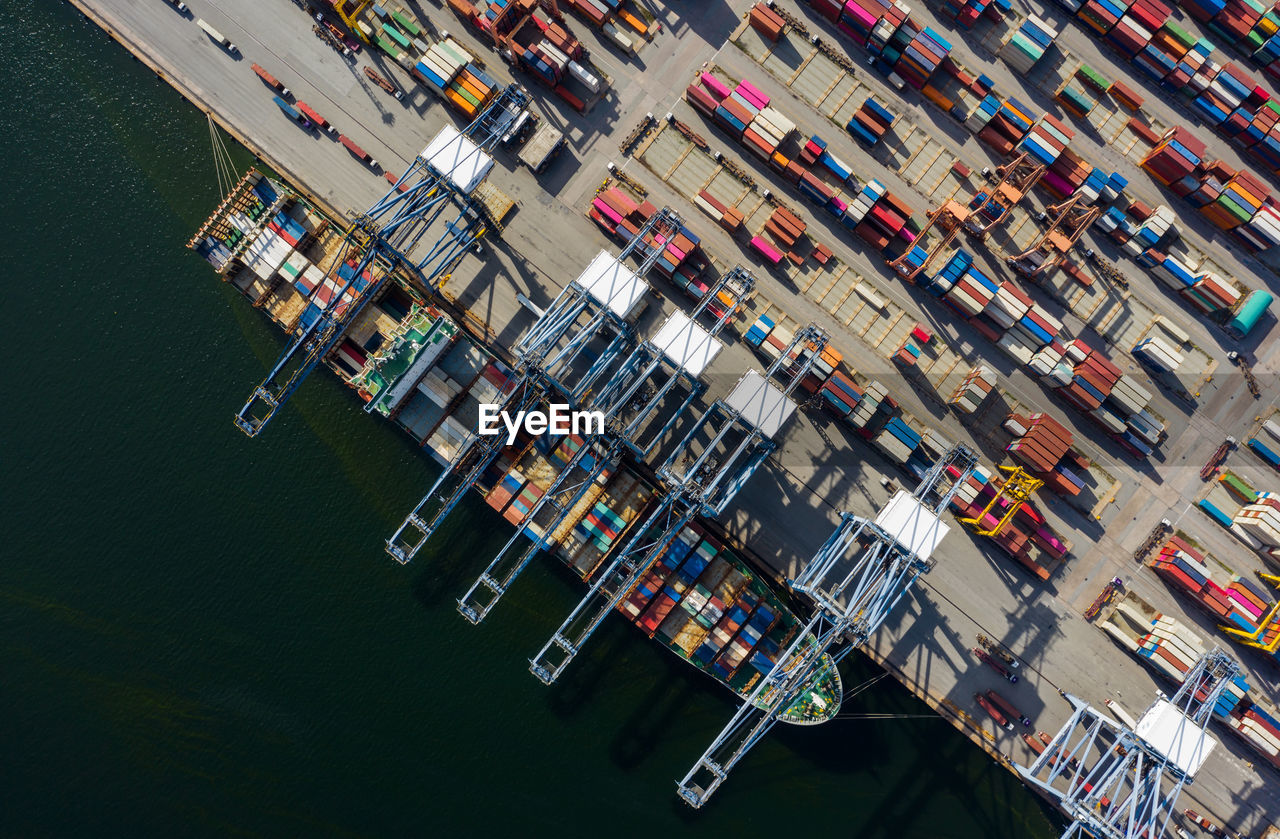 High angle view of commercial dock