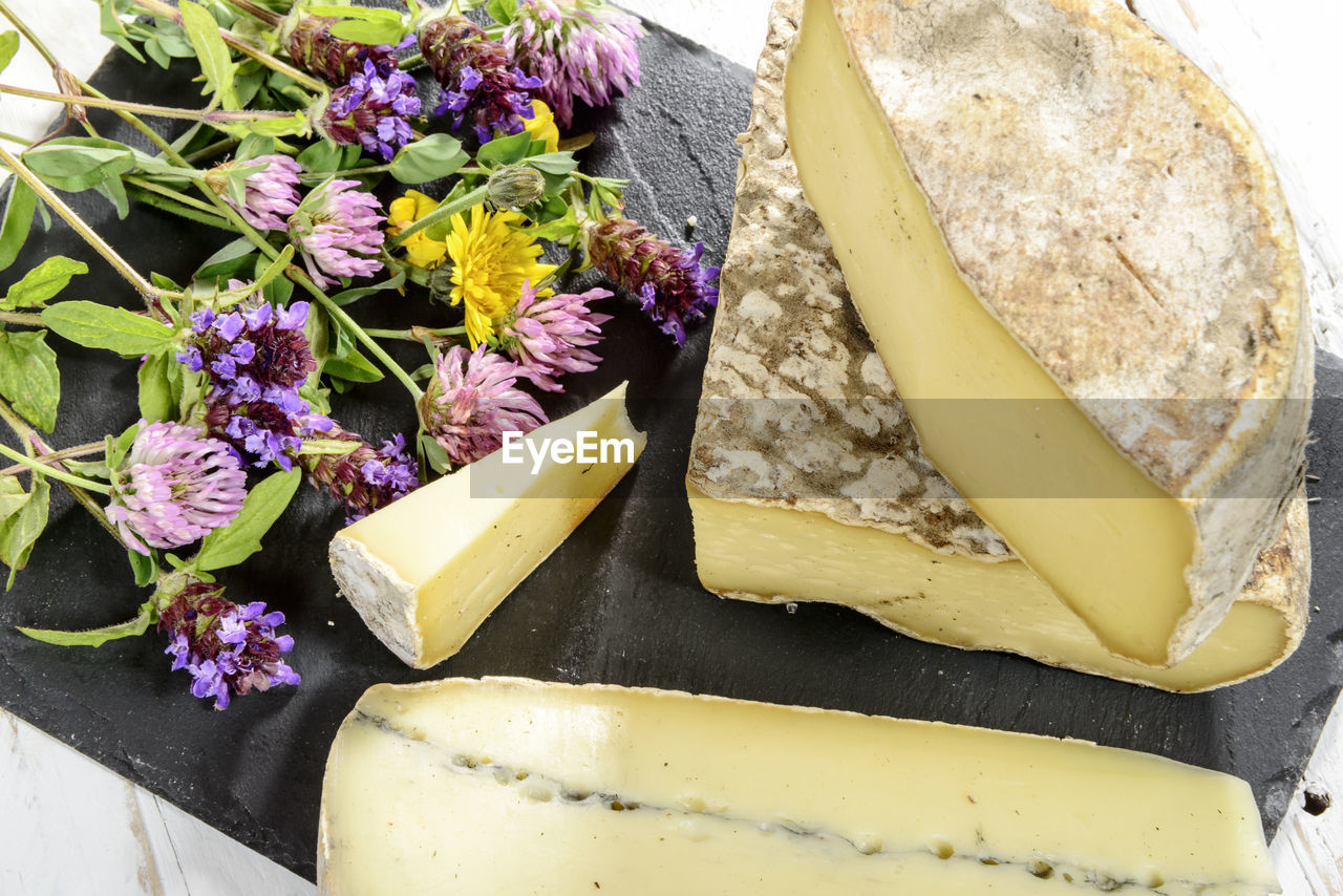 flower, freshness, cheese, no people, high angle view, purple, close-up, food, indoors, fragility, day