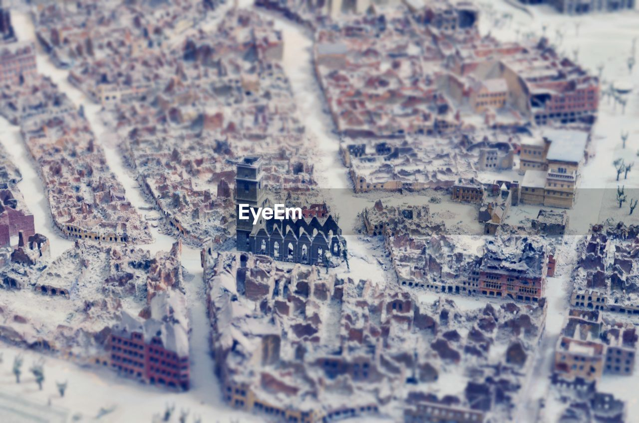 Aerial view of snow covered town