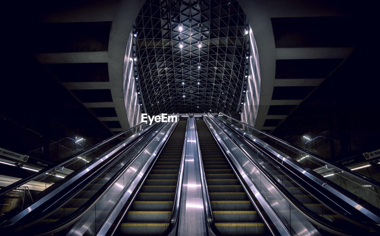 Low angle view of escalators