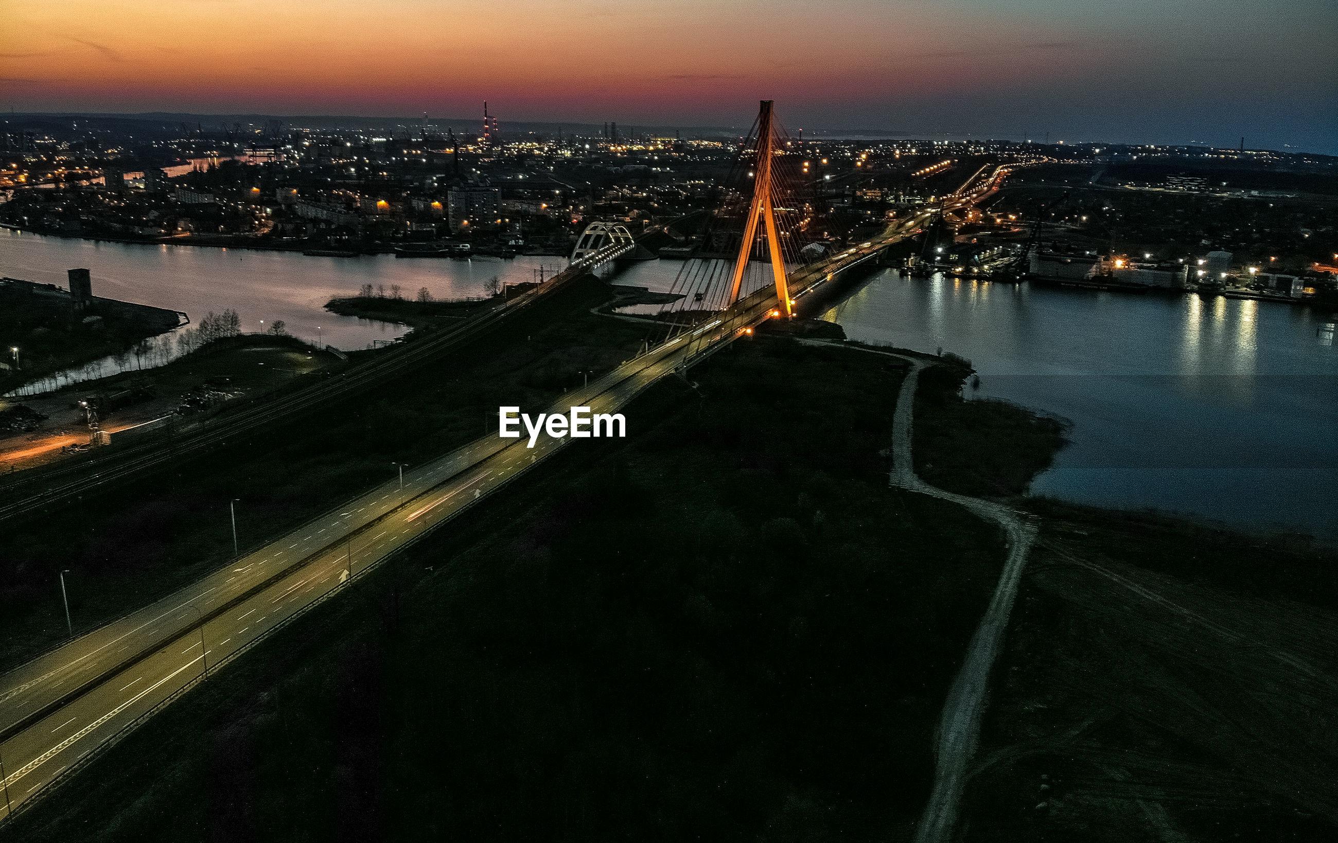 Gdansk modern bridge at night