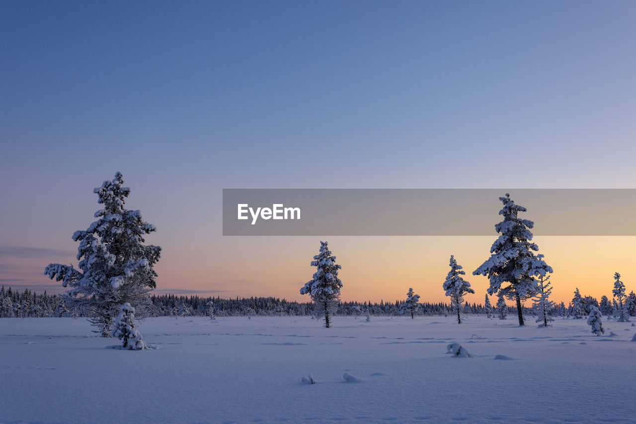Snow covered field against clear sky during winter